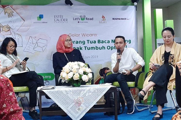 Gelar wicara bertema Orang Tua Baca Nyaring, Anak Tumbuh Optimal yang diadakan oleh The Asia Foundation dan sejumlah pihak di Ruang Serbaguna Perpustakaan Kemendikbud RI, Jakarta, Kamis (20/6/2019).