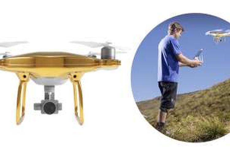 Drone DJI Phantom 4 berlapis emas 24 karat yang dijual oleh Drones Direct.