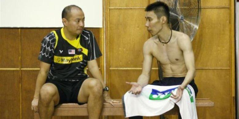 Lee Chong Wei (kanan) dan pelatihnya asal Indonesia, Hendrawan
