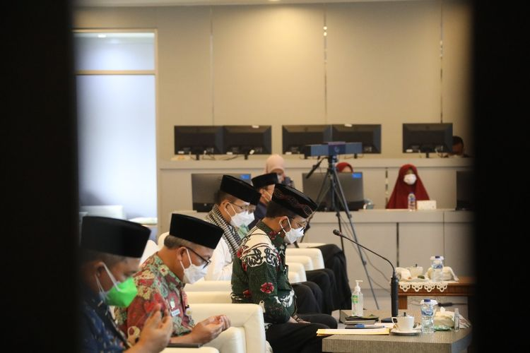 Menteri Pertanian (Mentan) Syahrul Yasin Limpo (SYL) dalam gelaran doa bersama yang diselelnggarakan Direktorat Jenderal (Ditjen) Prasarana dan Sarana (PSP) di Agriculture War Room (AWR) Kementan, Jumat (23/7/2021).