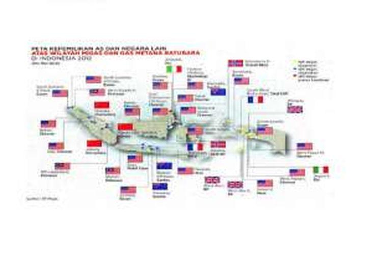 Peta Indonesia dengan tebaran bendera asing di lokasi-lokasi anjungan dan atau kilang minyak dan gas bumi (migas) seperti ini yang sempat beredar luas di media sosial.