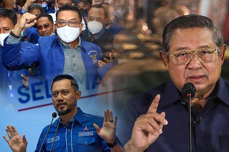 Foto kompilasi pada Jumat (5/3/2021) memperlihatkan, Moeldoko (kiri atas) tiba di lokasi Kongres Luar Biasa (KLB) Partai Demokrat di Deli Serdang, Sumatera Utara, Ketua Umum Partai Demokrat Agus Harimurti Yudhoyono (kiri bawah) menyampaikan keterangan terkait KLB Demokrat yang dinilai ilegal di Jakarta, dan Ketua Majelis Tinggi Partai Demokrat Susilo Bambang Yudhoyono menyampaikan keterangan terkait KLB Demokrat di Puri Cikeas, Bogor, Jawa Barat.