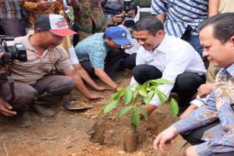 Menteri Pertanian Indonesia Andi Amran Sulaiman dalam program Intercropping Jagung pada Lahan Karet dan Sawit, pada Kamis (9/6/2016), di Banyuasin, Sumatra Selatan