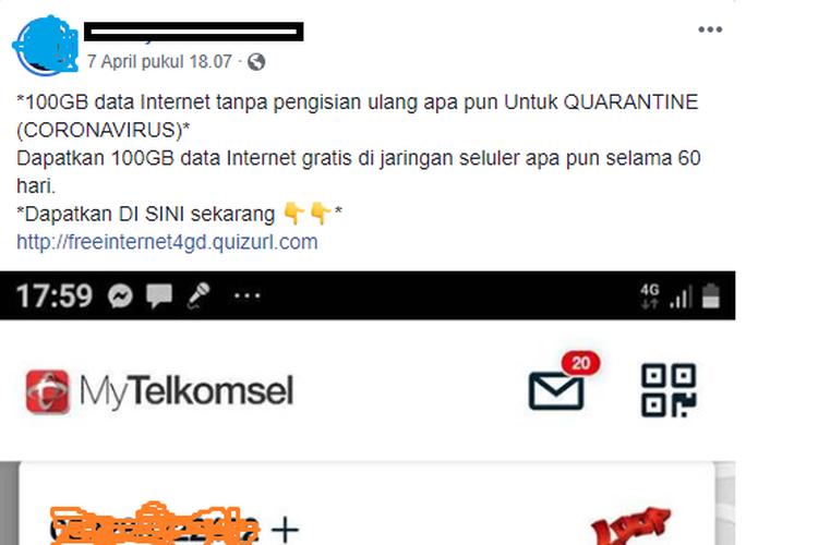 Sebuah pesan berisi informasi mengenai adanya kuota data 100 GB gratis yang dapat digunakan ke semua operator.