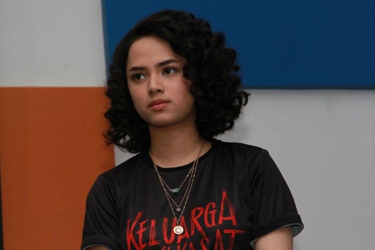 Wizzy Williana dalam konferensi pers film Keluarga Tak Kasat Mata di kantor Kaskus, Menara Palma, Jakarta Selatan, Rabu (15/11/2017).