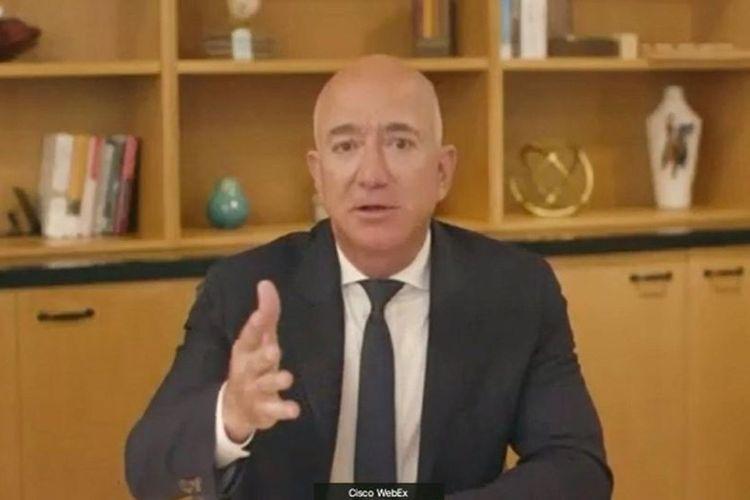 CEO Amazon, Jeff Bezos, ketika memberikan pernyataan di sidang yang digelar DPR AS, Rabu (29/7/2020).