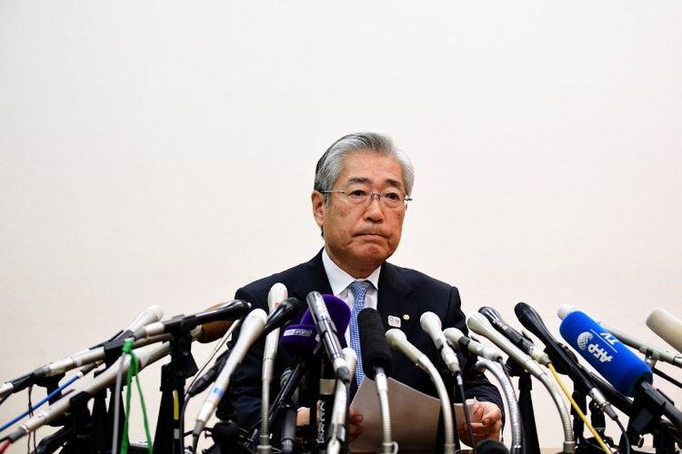 Presiden Komite Olimpiade Jepang, Tsunekazu Takeda, menghadiri konferensi pers di Tokyo, Jepang, pada 15 Januari 2019.