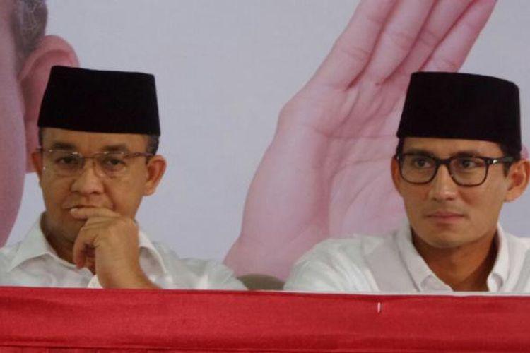 Pasangan Calon Gubernur dan Calon Wakil Gubernur DKI Jakarta nomor urut tiga, Anies Baswedan dan Sandiaga Uno di Kantor DPP Partai Gerindra, Ragunan, Jakarta Selatan, Rabu (15/2/2017).