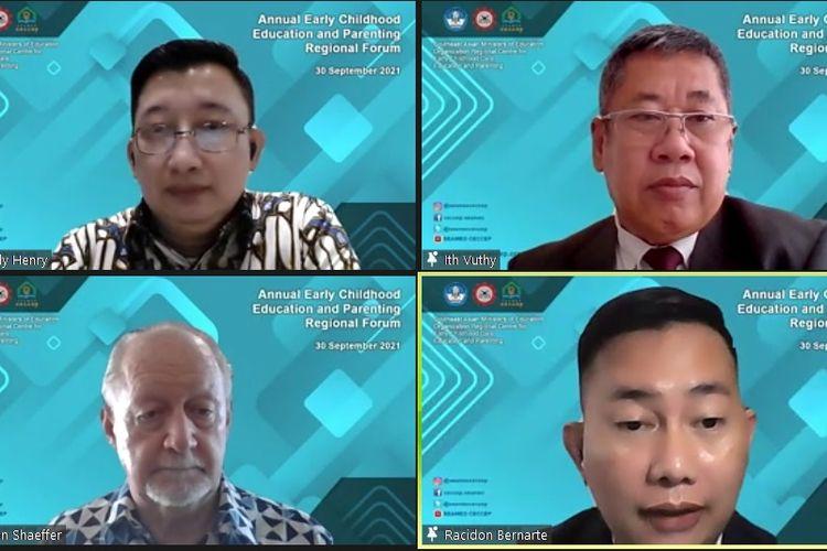 Acara Annual Early Childhood Care Education and Parenting Regional Forum yang digelar secara virtual oleh Southeast Asean Ministers of Education Organization Centre for Early Childhood Care Education and Parenting (SEAMEO CECCEP), Kamis (30/9/2021).