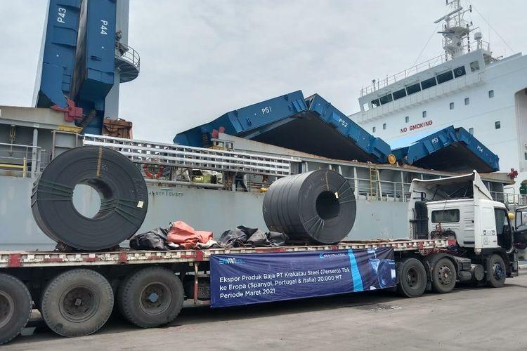 PT Krakatau Steel Tbk (KRAS) menyampaikan akan mengekspor sebanyak 20.000 ton baja ke Eropa pada Maret 2021.