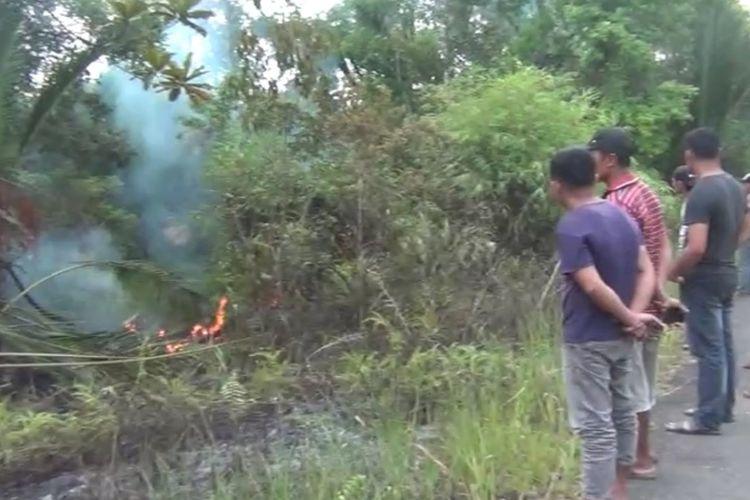 5 Hektar kawasan lahan pertanian milik warga di sekitar hutan di Desa Nikootano Dao, Kecamatan Gunungsitoli Alooa, Kota Gunungsitoli, Sumatera Utara, hangus terbakar, Jumat (28/2/2020).