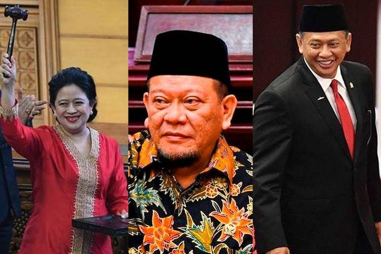 Ketua DPR Puan Maharani (kiri), Ketua DPD La Nyalla Mattalitti (tengah), dan Ketua MPR Bambang Soesatyo (kanan).