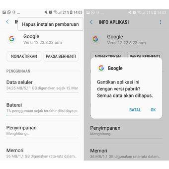 Ilustrasi penghapusan update di aplikasi Google untuk menghentikan masalah error Google terus berhenti atau Google keeps stopping yang terus muncul