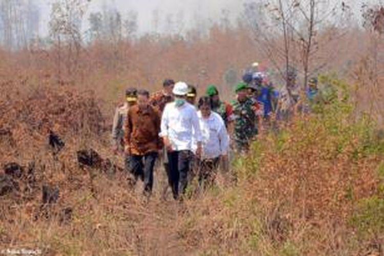 Presiden Joko Widodo saat memantau kabut asap akibat kebakaran hutan di Kalimantan Selatan, Rabu (23/9/2015).
