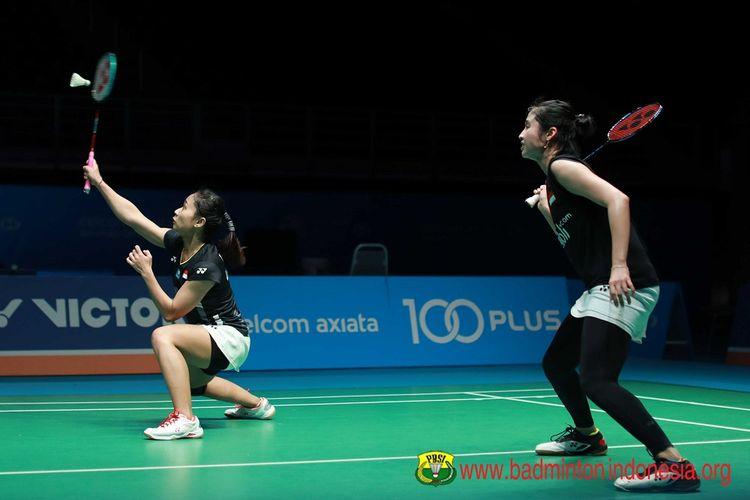 Ni Ketut Mahadewi Istarani/Rizki Amelia Pradipta berlaga di Malaysia Open 2019 di Axiata Arena, 4 April 2019.