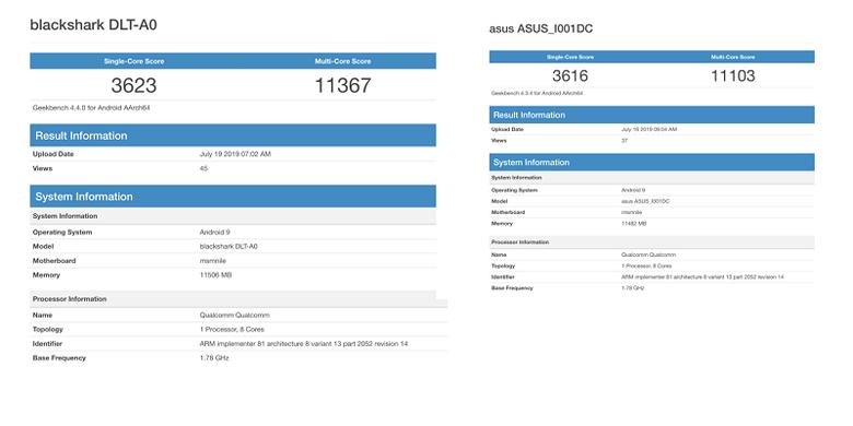 Tangkapan layar skor benchmark Geekbench Snadrgaon 855 di  Balck Shark 2 (kiri) dan Asus ROG II (kanan).