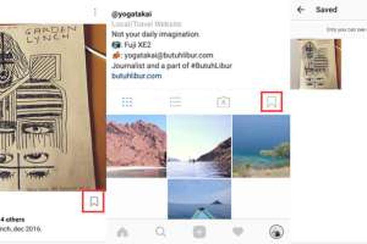 Kotak merah menunjukkan fitur Bookmark yang berguna untuk menyimpan foto milik orang lain