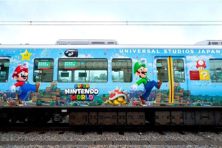 Kereta unik di Jepang yang memiliki gambar para karakter dalam Super Mario Bros (dok. PR Times | https://prtimes.jp/).