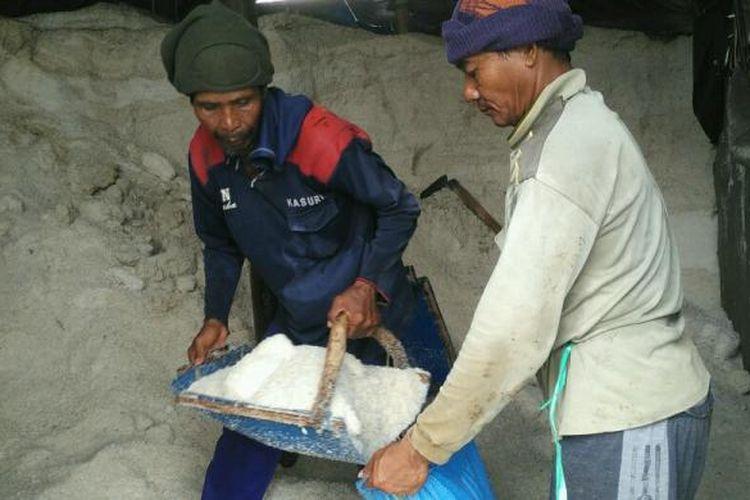 Dua pekerja memasukan garam ke zak , hasil produksi petani garam Desa Kedungmutih,  Kecamatan Wedung,  Demak , Rabu (1/2/2017)