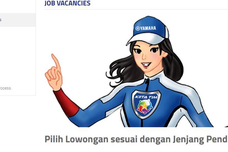Tangkapan layar website karir PT Yamaha Indonesia Motor Manufacturing.