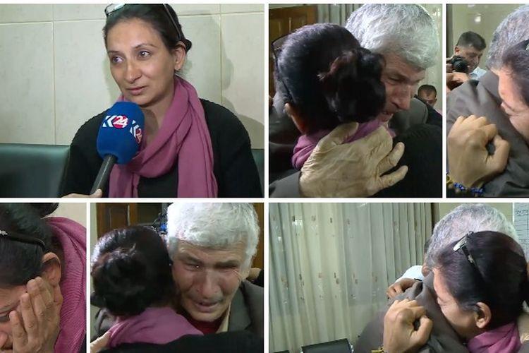 Momen mengharukan ketika Rita Habib, seorang perempuan Irak yang menjadi budak seks ISIS, bisa bertemu kembali dengan ayahnya (4/4/2018).