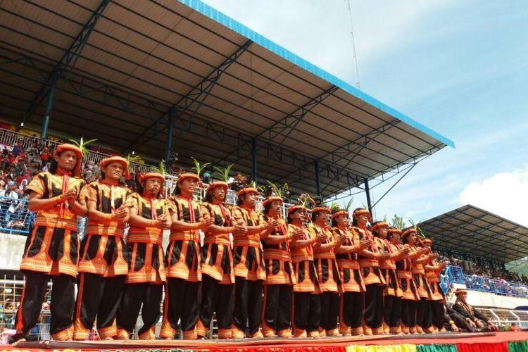 Para pelatih penari Tari Saman Massal 10001 Penari di Gayo Lues, Minggu (13/8/2017).
