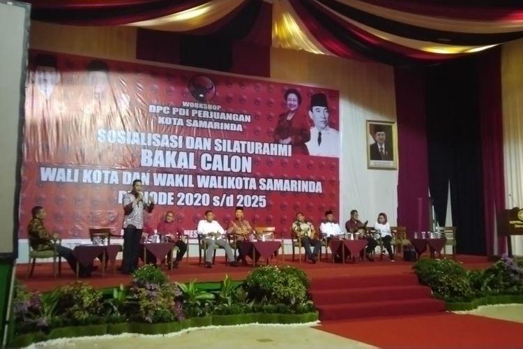 Ketua DPD Gerindra Kaltim Andi Harun saat memaparkan visi misi sebagai bakal calon hasil penjaringan DPC PDI-P Samarinda dalam acara sosialisasi dan silahturahmi yang digelar DPC PDI-P Samarinda di Ballroom Hotel Mesra Samarinda Sabtu, (12/10/2019).