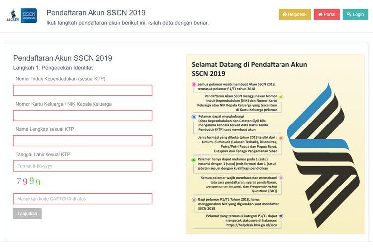 Tampilan halaman registrasi SSCN BKN(sscn.bkn.go.id)