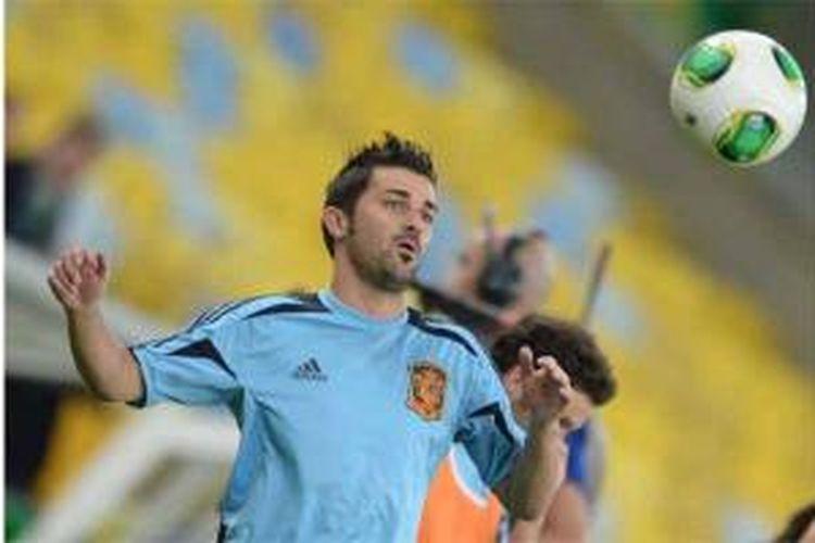 David Villa ketika membela Spanyol di ajang Piala Konfederasi pada akhir Juni 2013. Villa kini berseragam Atletico Madrid setelah Barcelona menjualnya dengan harga 5,1 juta euro.