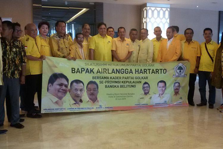 Ketua Umum Golkar Airlangga Hartarto saat konsolidasi bersama pengurus DPD Golkar Kepulauan Bangka Belitung, Sabtu (22/6/2019).