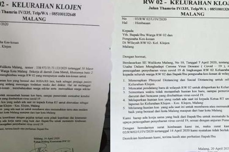 Surat imbauan yang diduga dikeluarkan RW 02, Kelurahan Klojen, Kota Malang, soal Covid-19 sebelum direvisi (kiri) dan surat imbauan yang sudah direvisi. Adanya surat imbauan itu sempat memicu polemik.