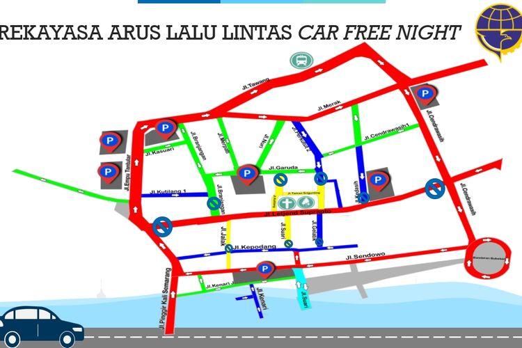Peta rekayasa lalu lintas car free night di Kawasan Wisata Kota Lama Semarang, yang berlaku 11-12 Oktober 2019 mulai pukul 18.00-24.00 WIB.