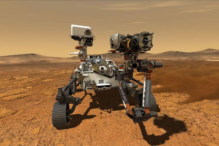 Perseverance, rover cerdas generasi ketiga dalam ilustrasi artistik kala telah mendarat dengan selamat di delta purba kawah Jezero, Mars.