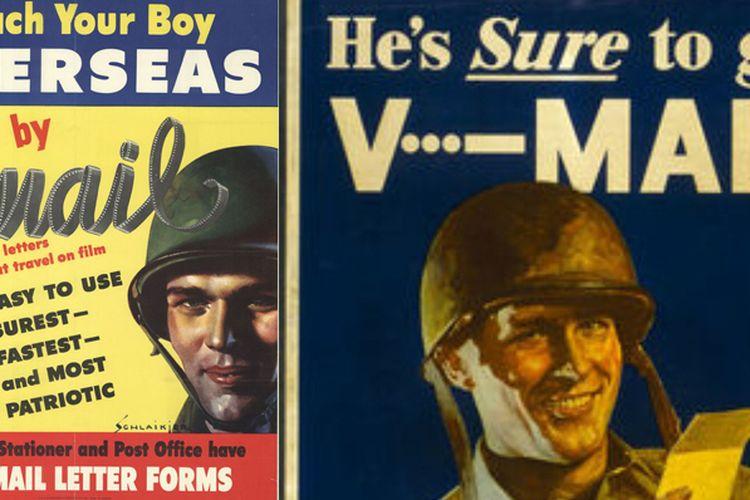 V-Mail, metode berkirim surat yang populer sebelum era e-mail, banyak digunakan di era Perang Dunia II.
