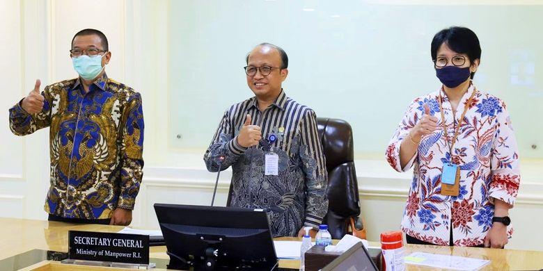 Dokumentasi pertemuan virtual Joint Task Force Indonesia - Taiwan di Jakarta, pada Kamis (8/4/2021).