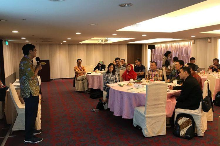 Rektor Binus University, Prof Harjanto Prabowo, saat memberikan sambutan pada Binus Industry Partnership Program (BIPP) di Hotel Fullerton East, Taiwan, Rabu (4/7/2018).
