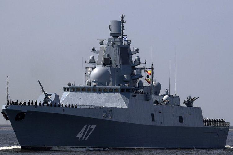 Kapal perang fregat Laksamana Gorshkov milik Angkatan Laut Rusia yang baru bergabung pada Juli 2018 lalu.