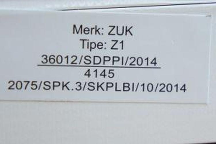 Nomor sertifikat Xiaomi yang tertera dalam kardus Zuk Z1.