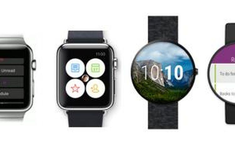 Tampilan aplikasi-aplikasi Microsoft untuk smartwatch