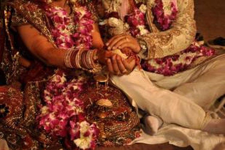 Ilustrasi pesta pernikahan India.