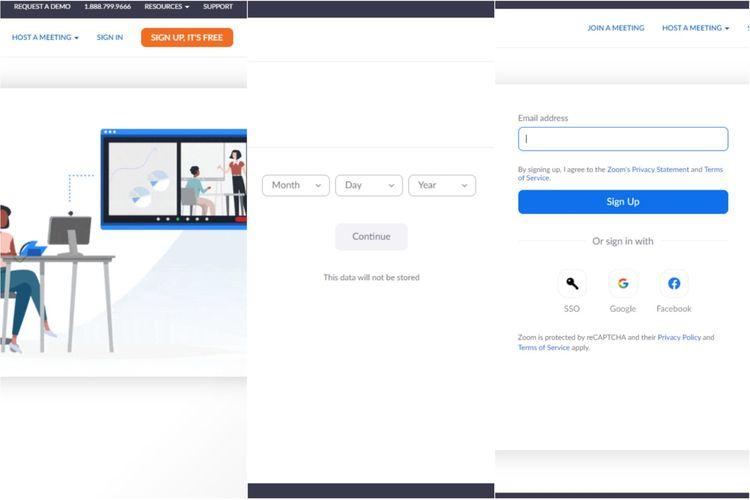 Cara mendaftar akun baru Zoom di PC dan laptop.