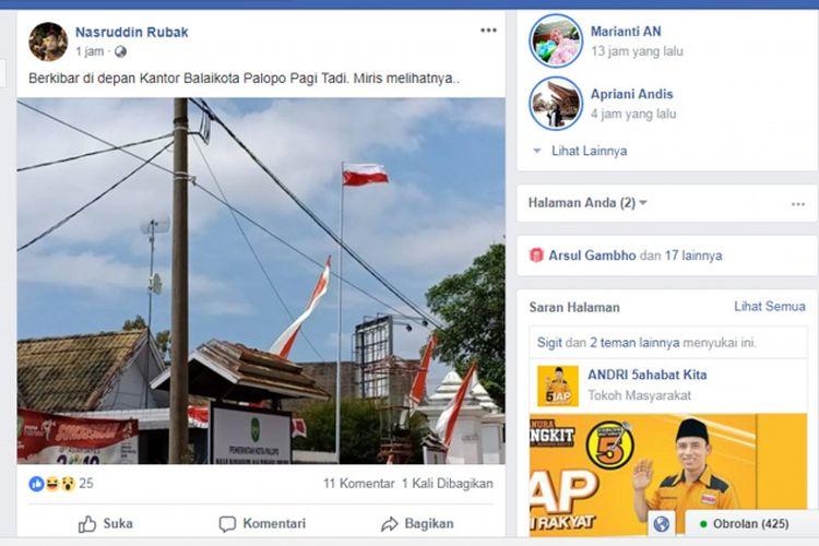 Bendera Merah Putih berkibar terbalik di halaman gedung Balaikota Palopo. Foto ini pertama diunggah oleh Nasruddin Rubak di media sosial Facebook, Selasa (7/8/2018)
