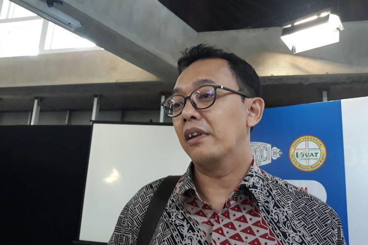 Komisioner Komisi Nasional Hak Asasi Manusia (HAM) Beka Ulung Hapsara usai  launching dan diskusi buku Papua Bukan Tanah Kosong, di kawasan Palmerah, Jakarta Barat, Jumat (15/11/2019).