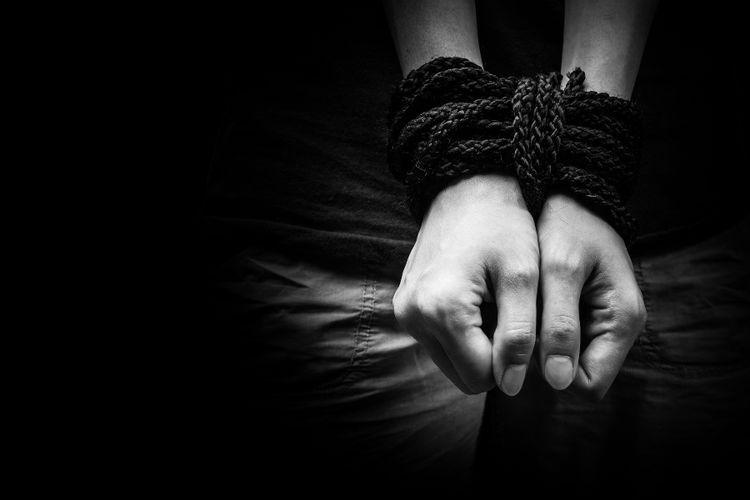 Ilustrasi korban perdagangan manusia.