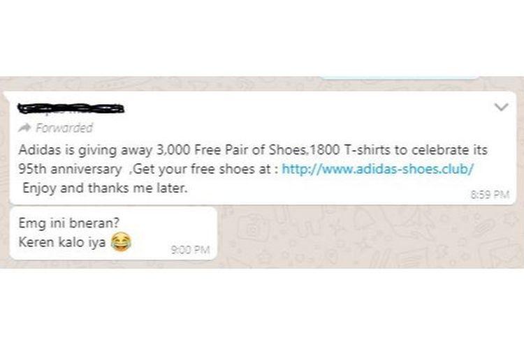 Pesan hoaks yang tersebar di WhatsApp