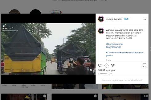 Demi Konten Nyawa Jadi Taruhan, Video Biker Tabrak Truk Oleng
