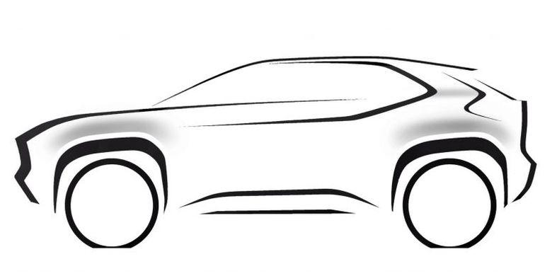 Sketsa dari Toyota Yaris versi Crossover yang rencananya diperkenalkan akhir 2020