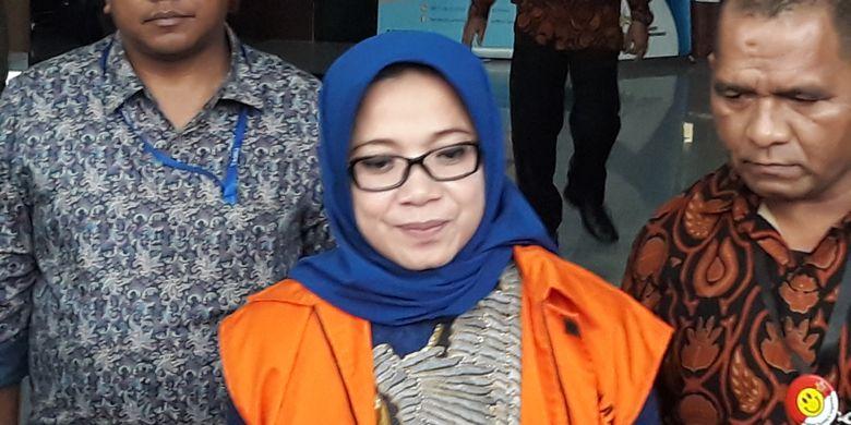 Mantan Wakil Ketua Komisi VII DPR Fraksi Golkar Eni Maulani Saragihdi Gedung KPK Jakarta, Rabu (29/8/2018).