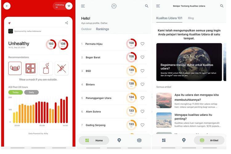 Beberapa fitur di aplikasi Nafas Indonesia yang menampilkan kualitas udara secara real-time, daftar kualitas udara di wilayah Jabodetabek, dan blog berisi artikel tentang kesehatan udara.