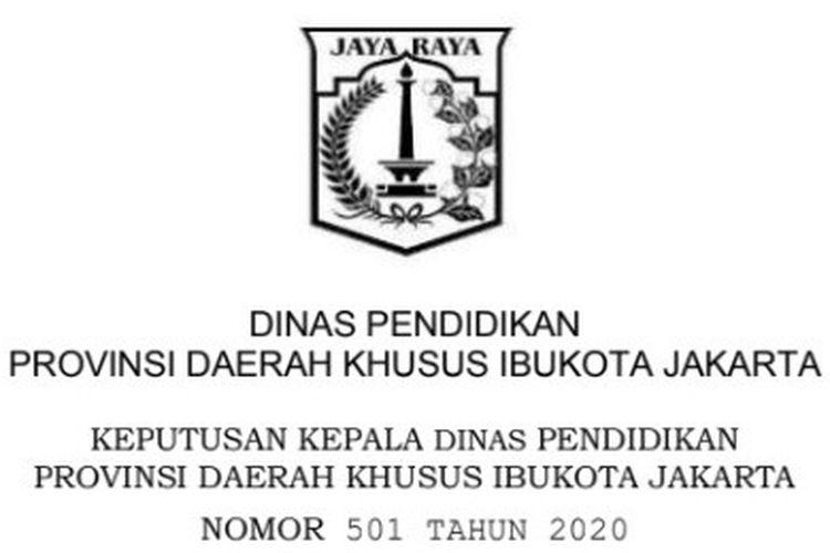 Surat Keputusan Kepala Disdik DKI Jakarta terkait juknis PPDB 2020.